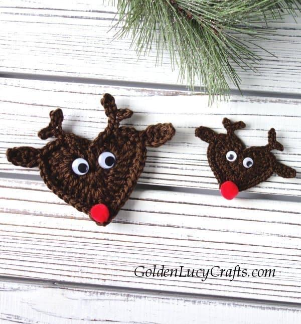 Crochet reindeer crochet pattern free, crochet reindeer ornament, crochet Christmas reindeer
