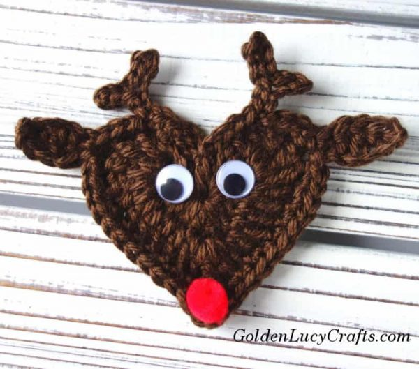 Crochet reindeer applique, ornament