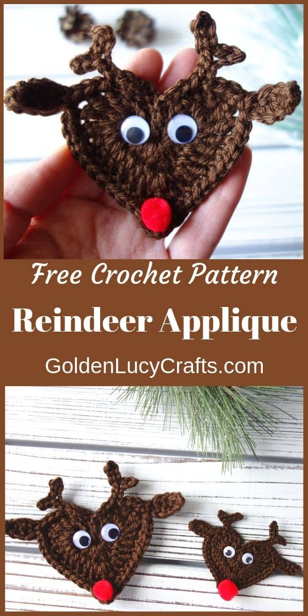 Crochet reindeer free crochet pattern, crochet reindeer ornament, crochet Christmas reindeer