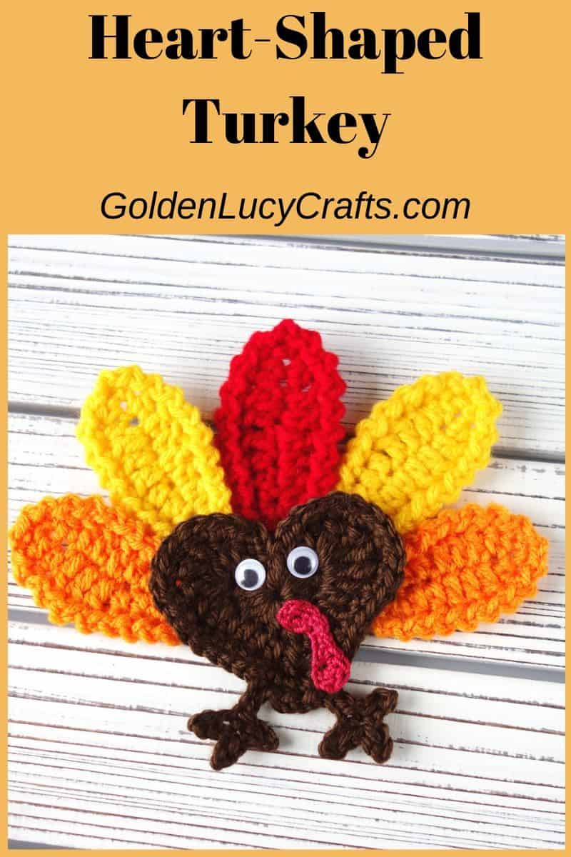 Crochet turkey applique, Thanksgiving decor