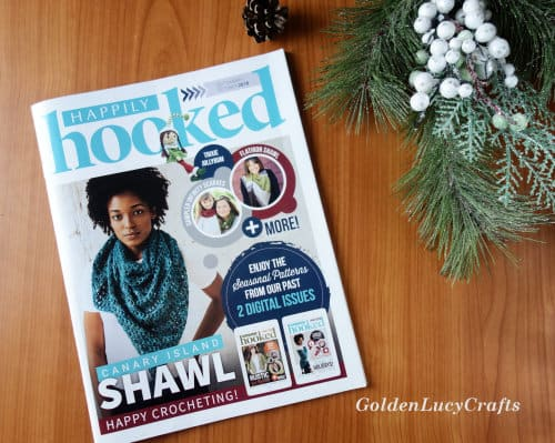 Happily Hooked magazine laying on the table