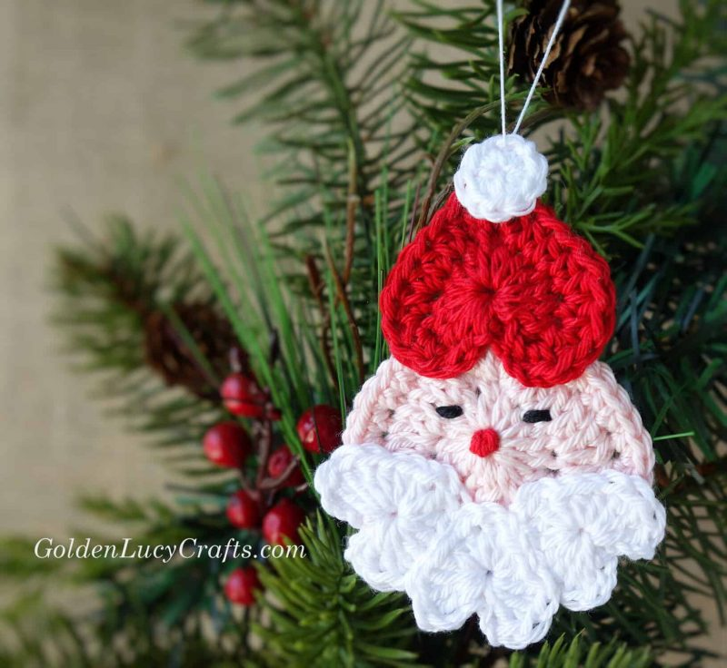 Crochet Santa Ornament, crochet ornament, crochet Christmas ornament, free crochet pattern