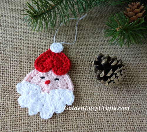 Santa Crochet Ornament, crochet Christmas ornament