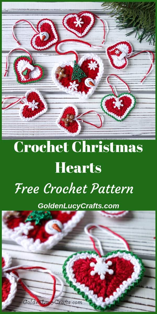 Crochet Christmas hearts ornaments
