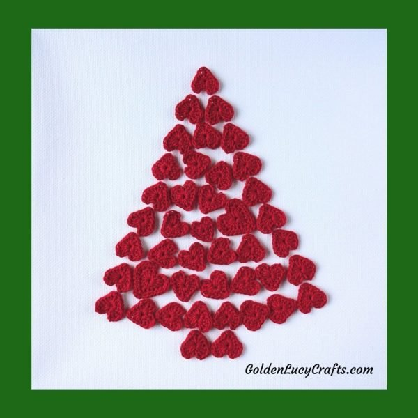 Christmas wall decor, Christmas tree of heart wall art - part of Christmas patterns collection