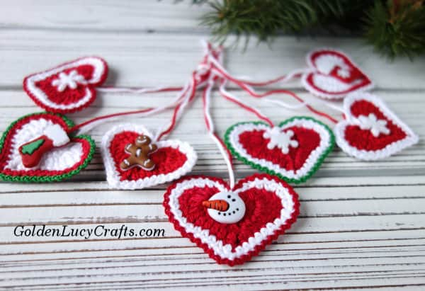 Crochet Christmas ornament, heart ornament, free crochet pattern
