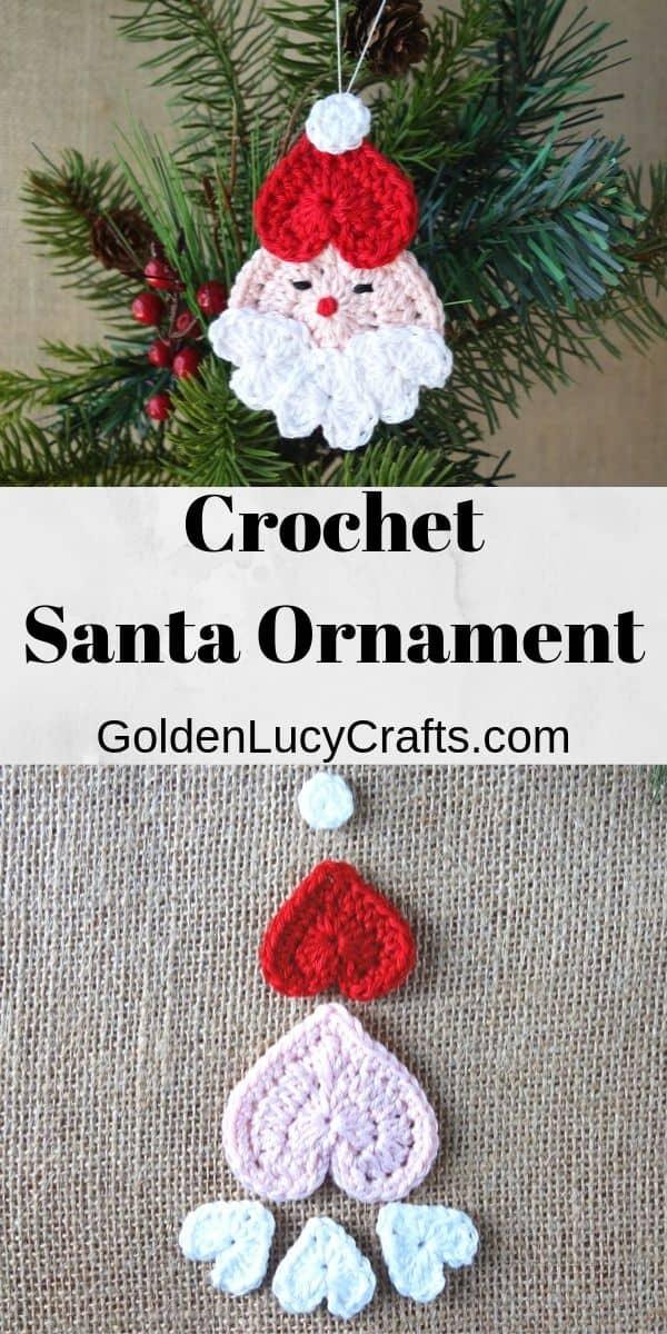 Crochet Santa ornament, free pattern