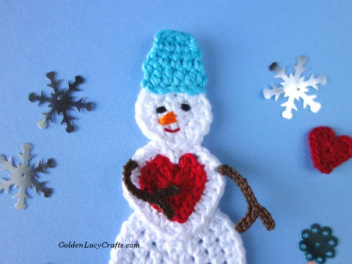 Crochet Snowman, snowman applique, snowman ornament, free crochet pattern