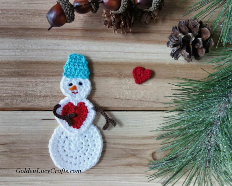 Crochet Snowman, snowman applique, snowman ornament, free crochet pattern