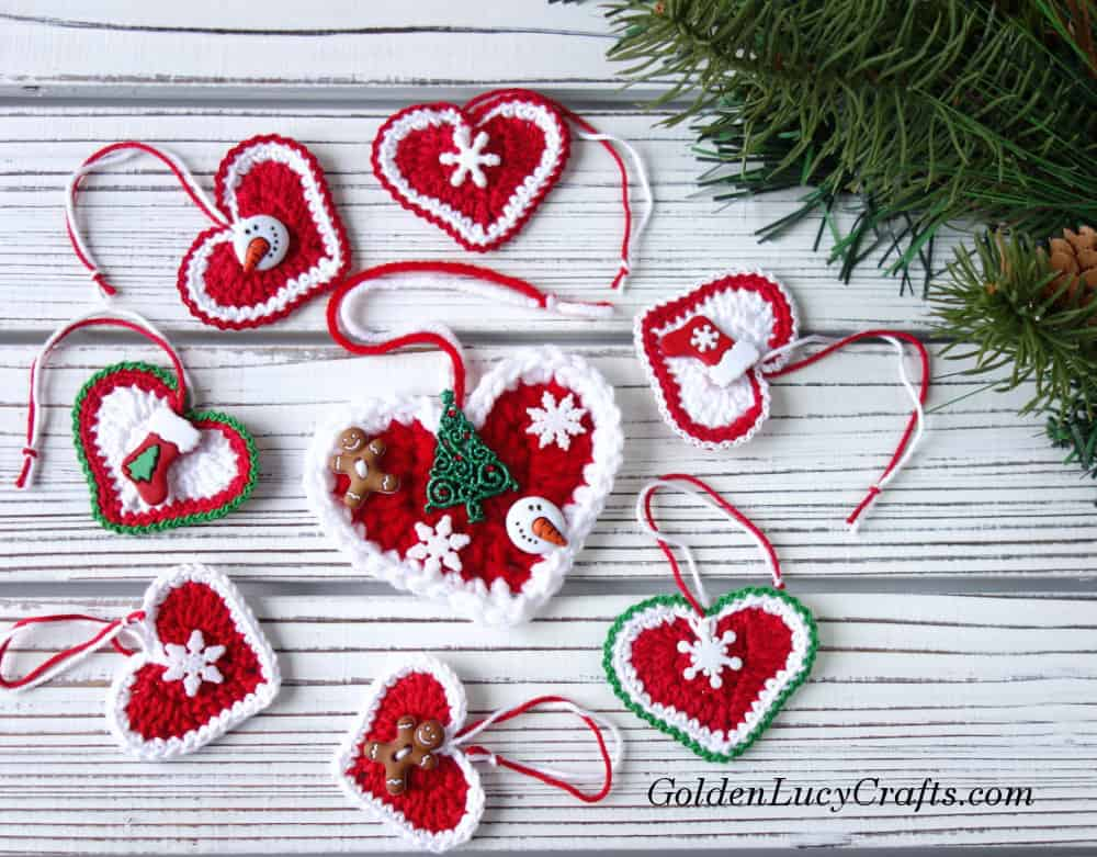 Crochet Christmas Ornaments Patterns Free.Crochet Heart Christmas Ornament Goldenlucycrafts