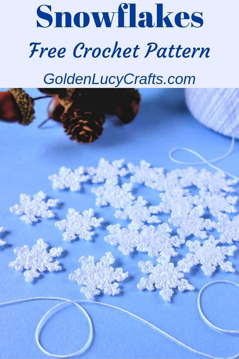 Crochet snowflakes, small, tiny, free crochet pattern