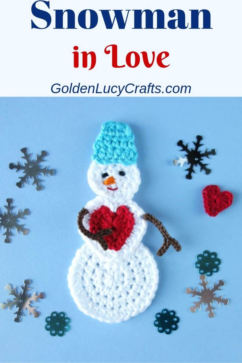 Crochet snowman applique, free crochet pattern