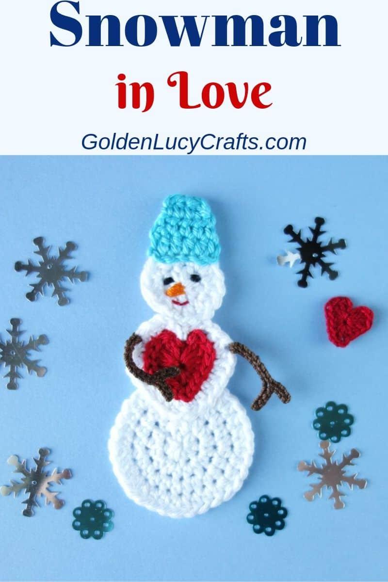 Crochet snowman applique, ornament, free crochet pattern