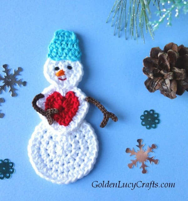 Crochet snowman in love, applique, ornament, crochet pattern