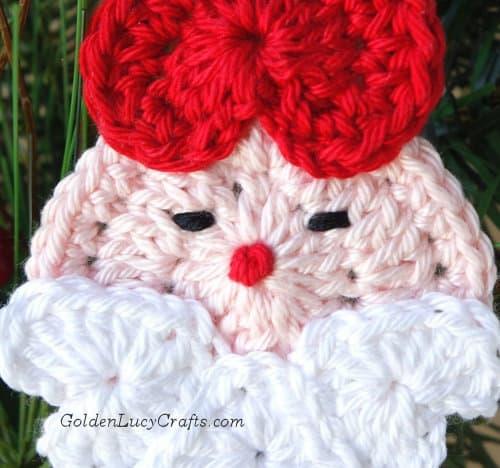 Crochet Santa Ornament, close up image