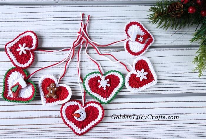 Crochet heart Christmas ornament, free crochet pattern