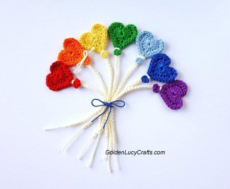 Crochet Valentine's Day Appliques Collection - Crochet Balloon Applique
