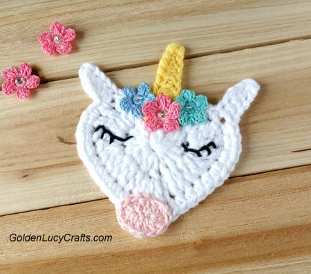 Crochet Valentine's Day Appliques Collection - Crochet Unicorn Applique