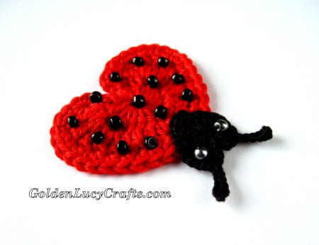 Crochet Valentine's Day Appliques Collection - Lovebug Ladybug
