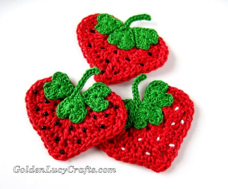 Crochet Valentine's Day Appliques Collection - Strawberry