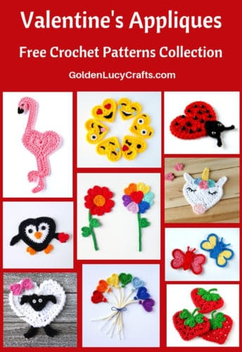 Crochet Valentine's Day Appliques Collection, free crochet patterns, Valentines appliques, crochet Valentines patterns free