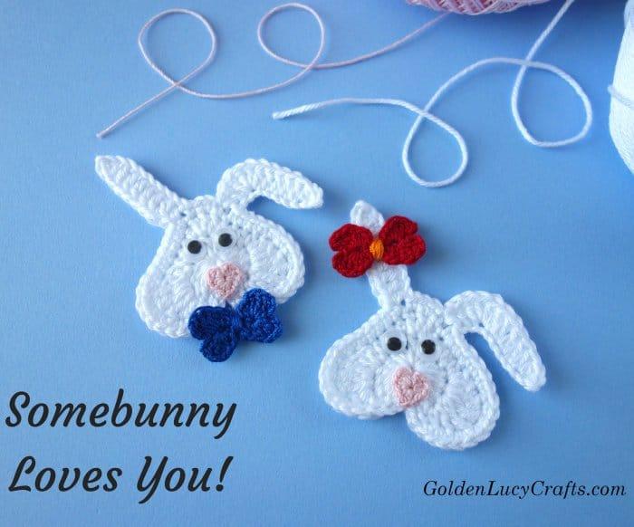 Crochet Bunny applique, heart bunny, free crochet pattern, Somebunny Loves You!