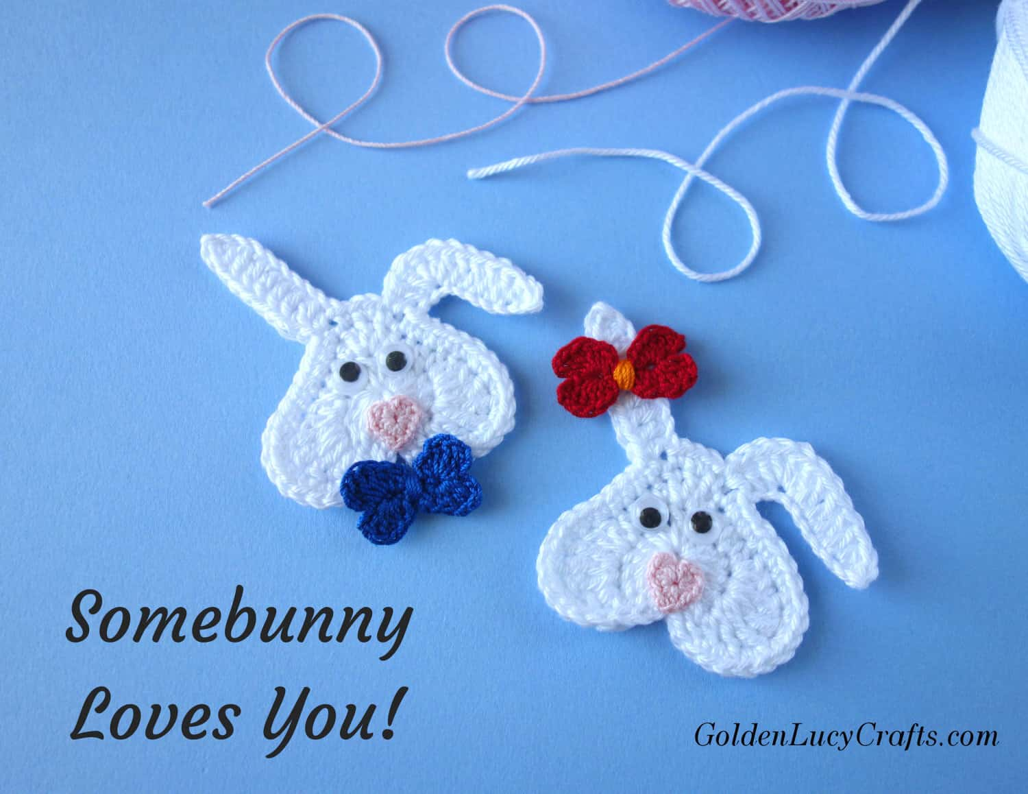 Crochet bunny pattern free, Valentine's bunny, Valentine's applique, Somebunny Loves You!