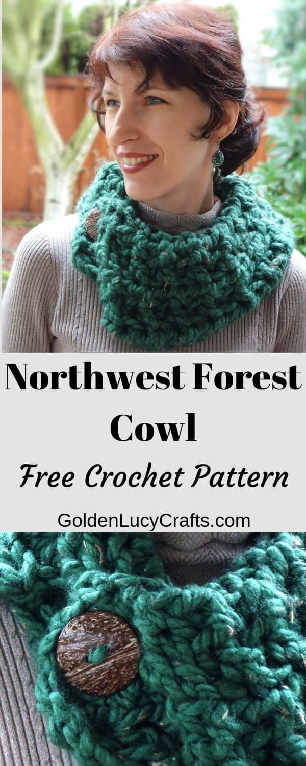 Crochet easy cowl, super bulky yarn, one hour project, one skein