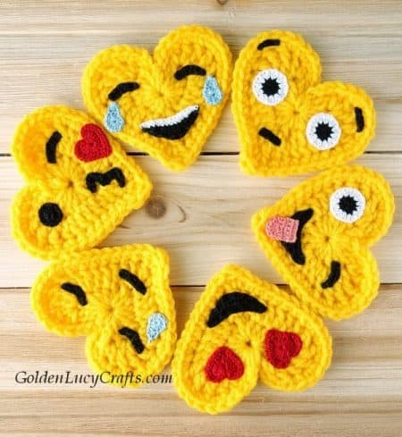 Crochet emoji appliques - part of Valentine's Day crochet patterns collection