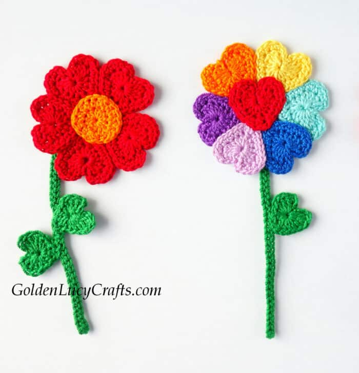 Crochet flowers made from hearts.
