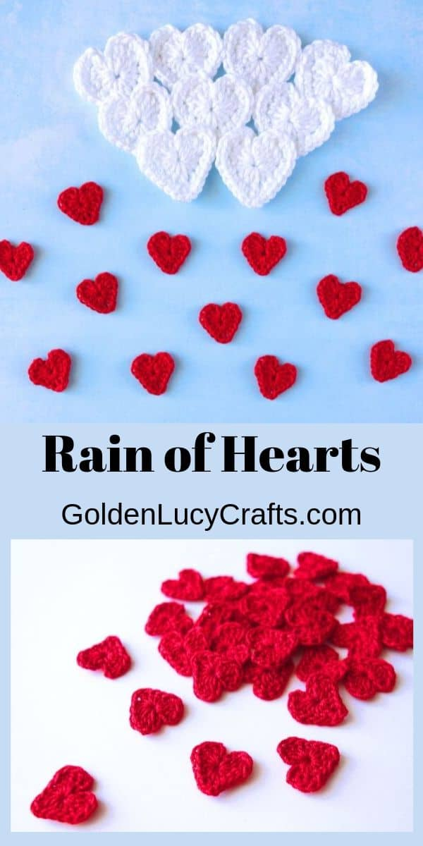 Crochet hearts Valentine's Day applique
