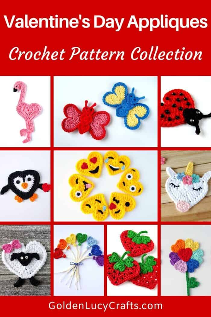 Valentine's Day crochet appliques picture collage.