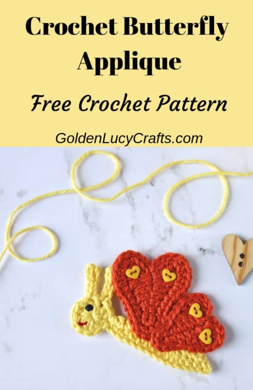Crochet Butterfly applique, butterfly crochet pattern free