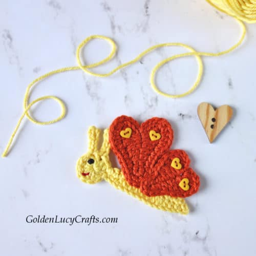 Crochet Butterfly applique, butterfly crochet pattern free, heart butterfly,