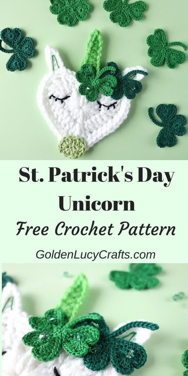 Crochet St Patrick's Day unicorn, shamrock, applique, decorations