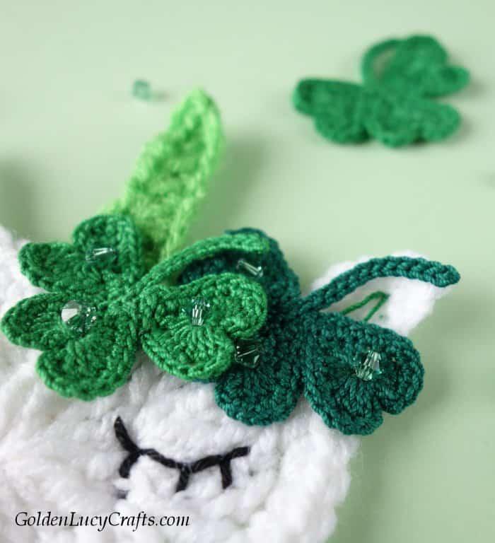Crochet St. Patrick's Day unicorn, shamrock, applique, embellishments