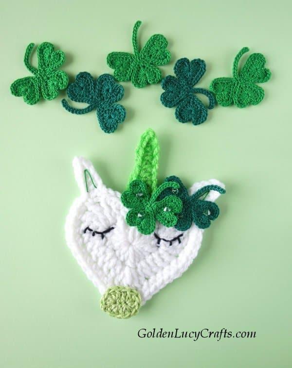 Crochet St. Patrick's Day unicorn, shamrock applique, free pattern