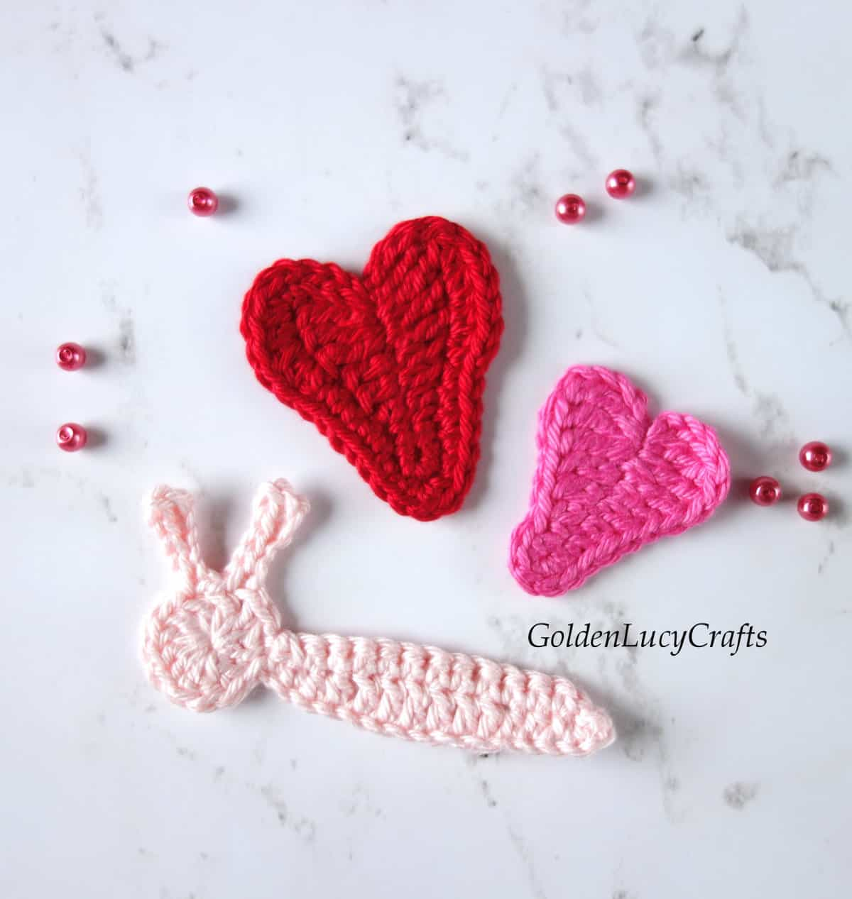 Parts of crochet butterfly applique.