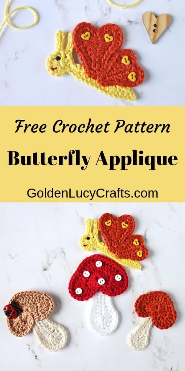 Crochet butteffly and mushrooms applique.