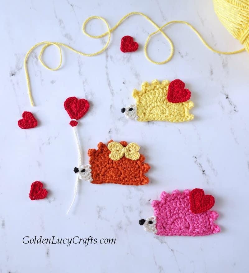 Crochet Hedgehog Applique Valentine Hedgehog Goldenlucycrafts