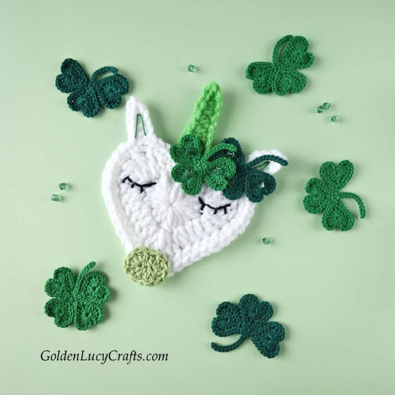 St Patrick's Day crochet unicorn applique, free crochet pattern