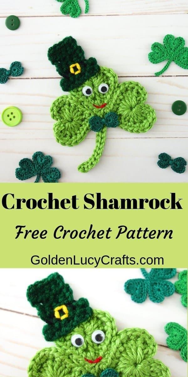 Crochet shamrock applique, free crochet pattern, shamrock made from hearts