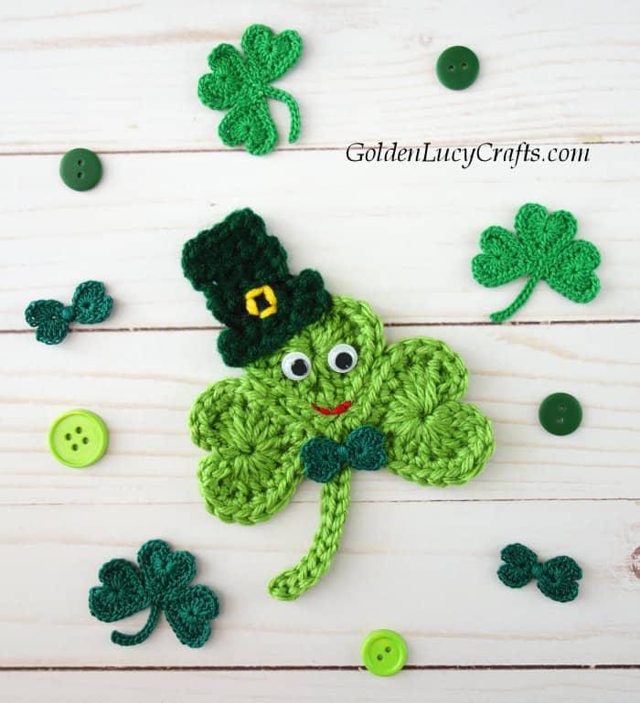Crochet Shamrock, shamrock crochet pattern free, crochet shamrock in a hat, shamrock applique
