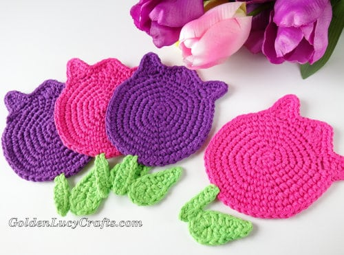 Crochet Tulips Coasters, Applique - spring flowers collection