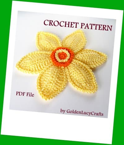 Crochet daffodil - spring flowers crochet patterns collection