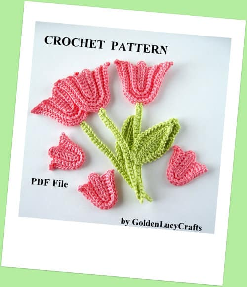 Crochet tulip applique - crochet spring flowers collection