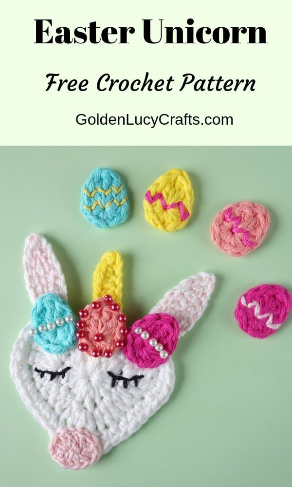 Crochet Easter Unicorn, Easter Eggs applique free crochet Easter patterns