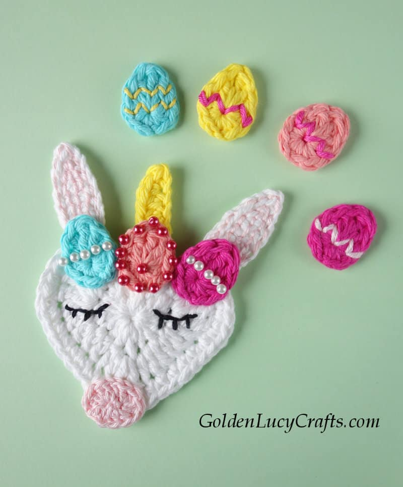 Easter crochet Unicorn, Easter Eggs, free crochet pattern