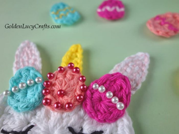 Crochet Easter Unicorn, Easter Eggs, free crochet pattern