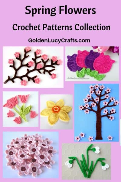 Crochet Spring flowers picture collage.